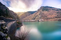 Hydroelectric Dam At Lake Plastira. Royalty Free Stock Images