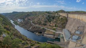 Hydroelectric dam of Castelo de Bode. Portugal. Industry royalty free stock photo