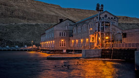 Hydroelectric Dam on Idaho's Snake River in the desert. Snake river and Hydroelectric dam at night with lights royalty free stock images