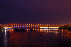 Hydroelectric dam in the night Royalty Free Stock Photography