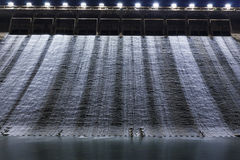 Hydroelectric dam at night Royalty Free Stock Images