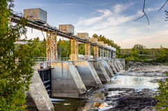 Hydroelectric Dam. Hydroelectric Plant in Grand Falls at Sunset. New Brunswick, Canada royalty free stock photography