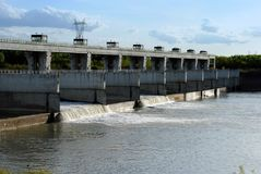Hydroelectric dam on the river Stock Images
