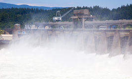 Hydroelectric dam on a river. Hydroelectric power plant on the Columbia River, Oregon (Bonneville dam stock image