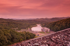 Hydroelectric Dam at sunset. Royalty Free Stock Photography