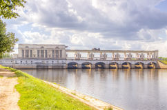 Hydroelectric panorama Volga Uglich Royalty Free Stock Image