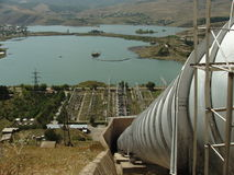 Hydroelectric Plant. View from near the top of a pipe leading into a hydroelectric plant near a small lake in Hrazdan, Armenia Stock Photos