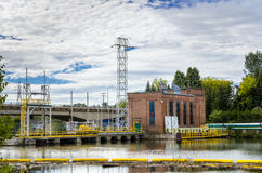 Hydroelectric Plant and Cloudy Sky Royalty Free Stock Photos