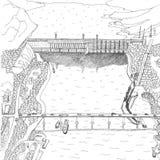 Hydroelectric plant in Krasnoyarsk black and white royalty free illustration