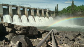 Hydroelectric Power Dam with Rainbow wide shot Royalty Free Stock Photo