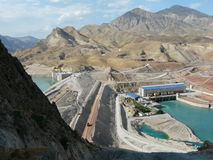 Hydroelectric power plant in the Сангтуде Tajikistan. Construction Гидроэлектростанци on the river Vakhsh in Сангтуде Stock Image