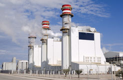 Hydroelectric power plant. General view of hydroelectric power plant with chimneis Stock Images