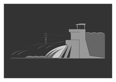 Hydroelectric power plant. On background. Vector illustration Stock Photography