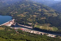 Hydroelectric power plant on Drina river. Serbia royalty free stock photo