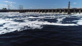 Hydroelectric power plant facilities on the Volga river near the city of Togliatti