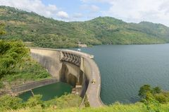 Hydroelectric power plant on the lake. Stock Photos