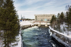 Hydroelectric power plant in the north of Russia Royalty Free Stock Photo