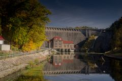 Hydroelectric power plant with reservior in Pilchowice. Hydroelectric power plant in Pilchowice in autumn secenery, Bobr Valley in Poland Stock Images