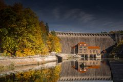 Hydroelectric power plant with reservior in Pilchowice. Hydroelectric power plant in Pilchowice in autumn secenery, Bobr Valley in Poland Stock Photo