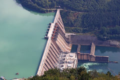 Hydroelectric power plant. On river stock images
