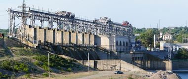 Hydroelectric power plant at river Dniester, Moldova. Stock Image
