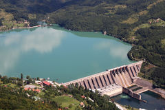 Hydroelectric power plant on river Stock Images