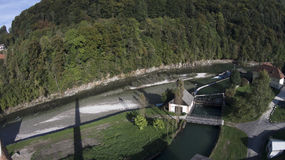 Hydroelectric power plant on a river Royalty Free Stock Photos