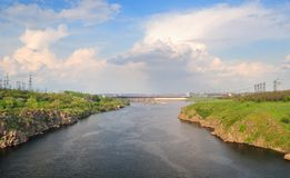 Hydroelectric power station. The river Dnepr. Zaporozhye. Ukraine Royalty Free Stock Photos