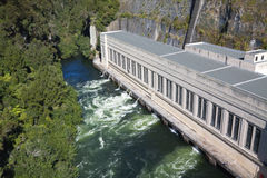Hydroelectric power station. In Airapuni,  Waikato, New Zealand. From high angle view Royalty Free Stock Image