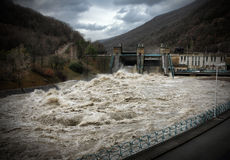 Hydroelectric power station in bad weather Royalty Free Stock Photography