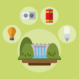 Hydroelectric power station battery bulb ecology Stock Photography