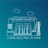 Hydroelectric power station. Linear illustration in a flat style. City infographics set. All types of power stations. System with transmission tower and Stock Image