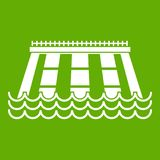 Hydroelectric power station icon green. Hydroelectric power station icon white isolated on green background. Vector illustration Royalty Free Stock Photos