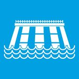 Hydroelectric power station icon white. Isolated on blue background vector illustration Royalty Free Stock Photos