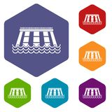Hydroelectric power station icons set hexagon. Isolated vector illustration Stock Images