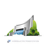 Hydroelectric power station. Isolated hydroelectric power station on white background in cartoon style Royalty Free Stock Images