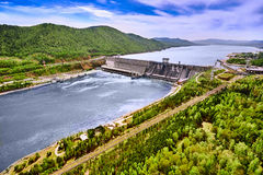 Hydroelectric power station in Krasnoyarsk. Top view from air Stock Photography