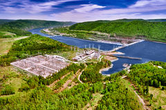 Hydroelectric power station in Krasnoyarsk. Top view from air Royalty Free Stock Photo
