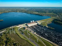 Hydroelectric power station in Latvia. Daugava river, plavinas. Daugava river, plavinas. Hydroelectric power station in Latvia royalty free stock images
