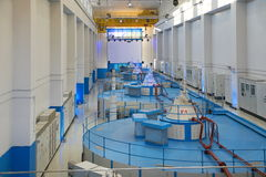 Hydroelectric power station. Lesogorskiy hydroelectric power station, machine hall, Russia. This picture was taken on December 18, 2013 Stock Photo
