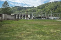 Hydroelectric power station. Near the dam on the Lake Rożnów in Poland. On river Dunajec Royalty Free Stock Photography