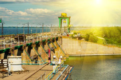 Hydroelectric power station. The river Dnepr, Dneprodzerzhinsk, Ukraine Stock Photos