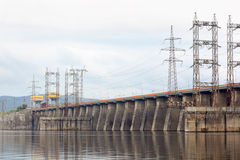 Hydroelectric power station on river Stock Photos