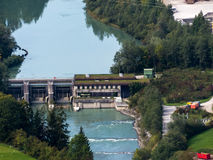 Hydroelectric power station on the river salzach Royalty Free Stock Image