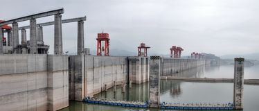 Hydroelectric Power Station Three Gorges Dam on Yangtze river in China royalty free stock photos