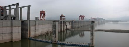 Hydroelectric Power Station Three Gorges Dam on Yangtze river in China royalty free stock images