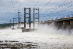 Hydroelectric power station. Water dumping Stock Images