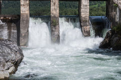 Hydroelectric power station water flow Royalty Free Stock Image