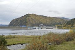 Hydroelectric power station. the Yenisei River. Russia. Siberia. stock photo