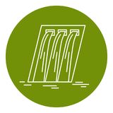 Hydroelectric station icon in thin line style. Water flow energy. Linear symbol in round frame Stock Photo